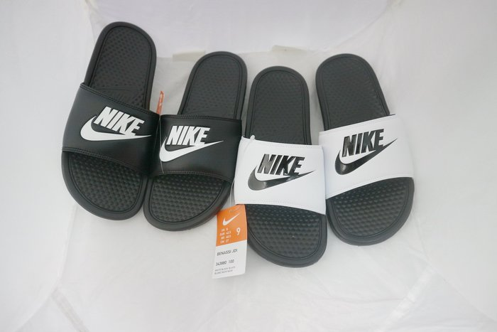 (請詢問有無現貨 )Nike 黑白 拖鞋 GD款  菱格紋 輕量化 5~12號 男女款 偏窄版 5~12號