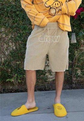 2020Drew House Corduroy賈斯汀比伯同款Drew刺繡燈芯絨卡其工裝短褲