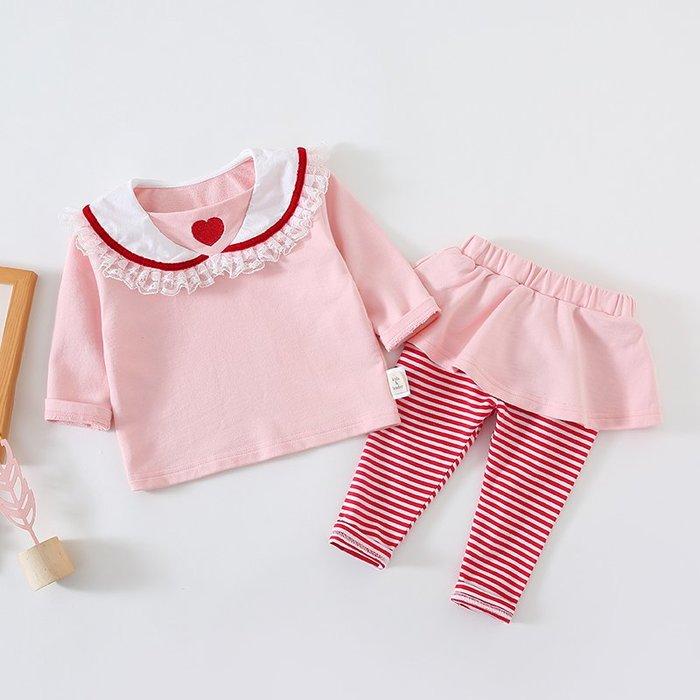 爆款--寶寶春裝韓版公主套裝嬰幼兒荷葉領上衣打底衫條紋褲子洋氣兩件套#寶寶衣服#連衣裙#可愛公主衣#洋氣