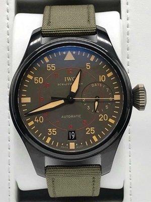 重序名錶 IWC 萬國 Big Pilot`s 大飛行員 IW501902 TOP GUN 陶瓷錶殼 7日鍊 自動腕錶