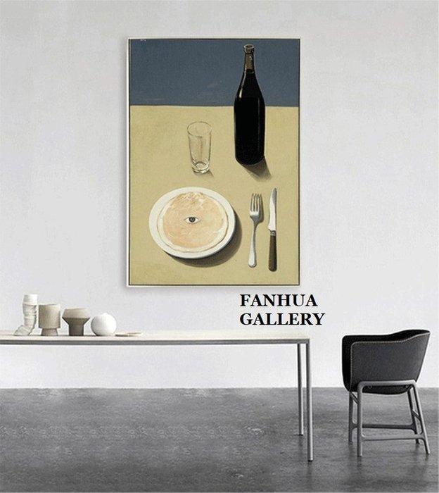 C - R - A - Z - Y - T - O - W - N René Magritte雷內馬格利特超現實主義掛畫餐桌酒瓶刀叉盤子版畫比利時畫家藝術裝飾畫