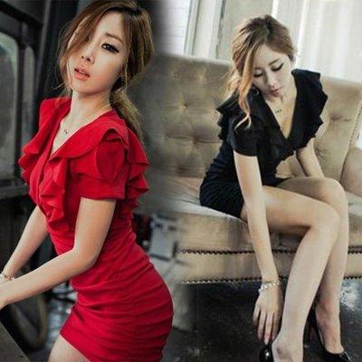 洋裝裙 新款夏裝夜店女裝V領性感大碼顯瘦包臀修身紅色連衣裙短