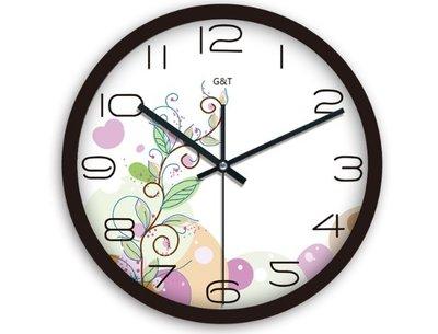 紫馨花蕊 時尚歐式田園石英鐘現代創意個性客廳靜音圓鐘 時鐘錶簡約大壁鐘 掛鐘數字電子鐘