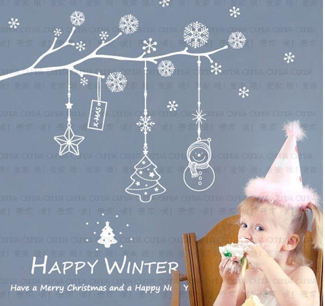 小妮子的家@聖誕雪花飄 壁貼/牆貼/玻璃貼/磁磚貼/汽車貼/家具貼