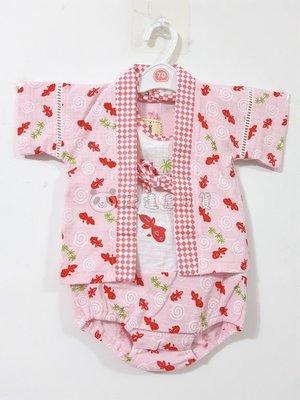 ✪胖達屋日貨✪兩件式包屁衣 70cm 粉底 金魚 日本 女 寶寶 兒童 和服 浴衣 甚平 抓周 收涎 攝影