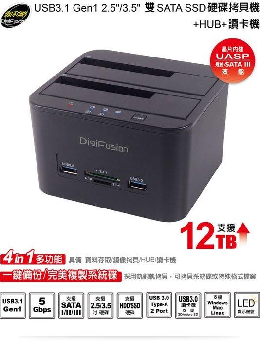 """伽利略 CRU-015 USB3.1 Gen1 2.5""""/3.5""""雙SATA SSD硬碟拷貝機+HUB+讀卡機"""