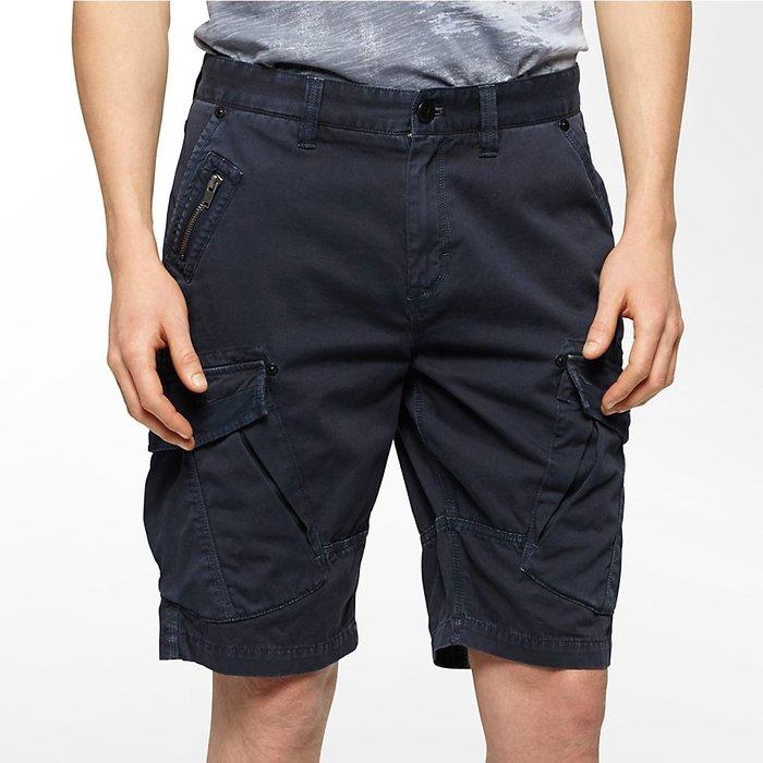 美國百分百【Calvin Klein】短褲 CK 休閒褲 褲子 五分褲 工作褲 飛行員 深藍 30 32腰 H120