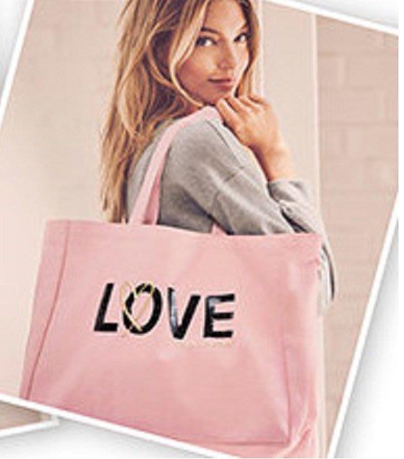 【菲菲美國舖】情人禮物。現貨~* Victorias Secret *~超大容量❤甜美亮眼Love輕巧帆布側背包/旅行
