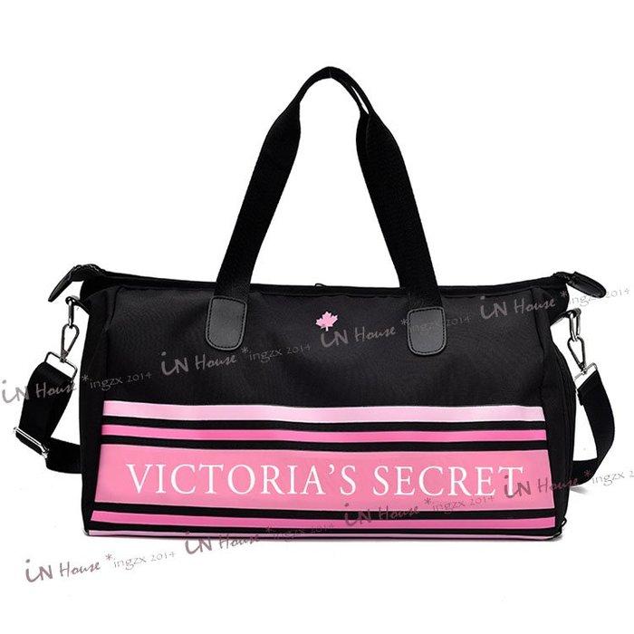 IN House* VICTORIA'S SECRET 維多利亞的秘密 出差游泳 健身包 手提袋 旅行袋 黑底楓葉款