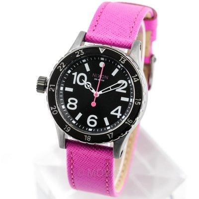 現貨 可自取 NIXON 尼克森 手錶 38mm 鍍黑桃紅色皮帶 多功能電子錶 A467-2049