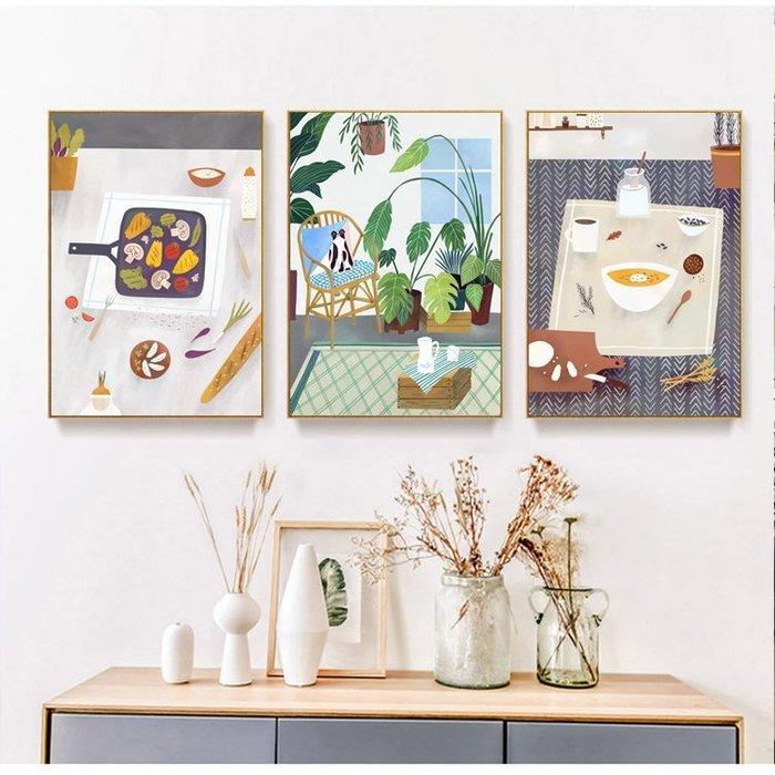 三幅一組油畫布 小清新廚房餐飲餐廳 畫芯/畫布/30X40☺暖暖屋☺傢居藝術館