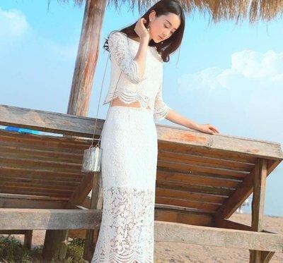 哆啦本鋪  新款宴會訂婚回門聚會生日派對連衣裙白色旅拍禮服海灘夏D655