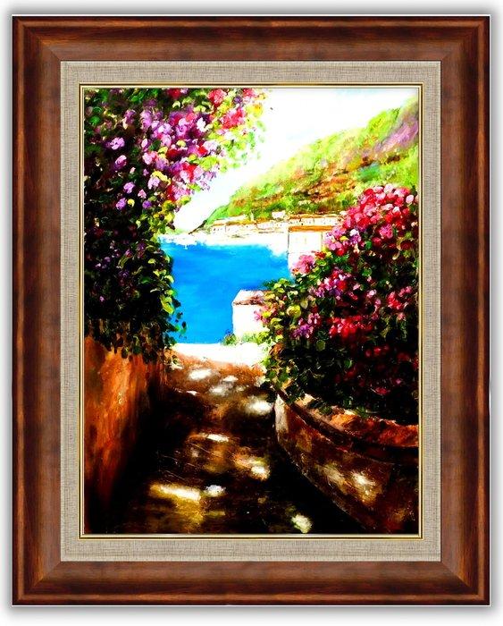 {藝術之都}手繪創作油畫~花園海邊~完成作品實品拍攝  含實木框可直接懸掛