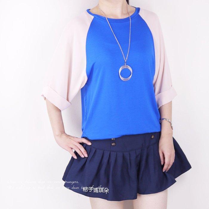 正韓 韓國連線 厚雪紡紗袖拼接彈性絲棉T ~惠衣