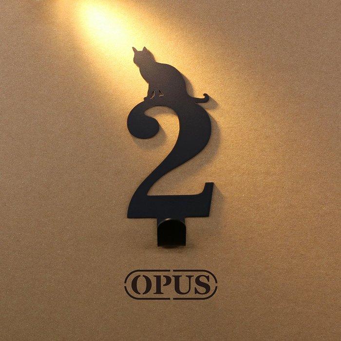 當貓咪遇上數字2《經典黑》壁飾掛勾 造型無痕掛鉤 居家收納 牆面裝飾壁掛【OPUS東齊金工】HO-nb12-2(B)