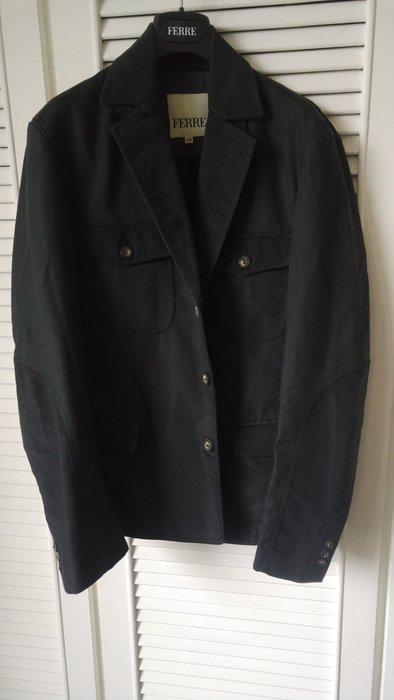 歐碼50 FERRE 牛角刻印釦單排釦西裝棉外套 原價七萬多 後開衩