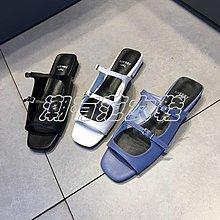 潮有范女鞋#韓國進口女鞋2018夏新款方頭一字露趾時尚雙皮帶扣方跟休閑涼拖鞋