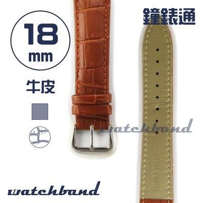 【鐘錶通】C1.21AA《霧面系列》鱷魚格紋-18mm 霧面棕┝手錶錶帶/皮帶/牛皮錶帶┥
