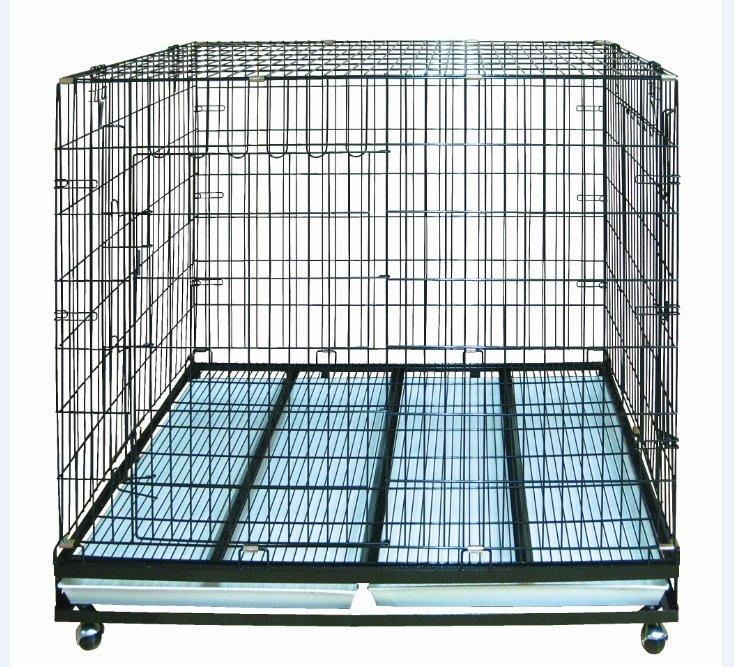 台灣制 3尺半 折合式靜電烤漆籠 大型狼犬籠 狗籠(附輪)DK-0618(雙門)3.5X2尺,每件4,000元