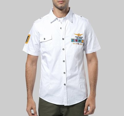 時尚服飾 2019男裝短袖襯衫男士空軍一號MA美式運動休閑全棉襯衣刺繡韓版