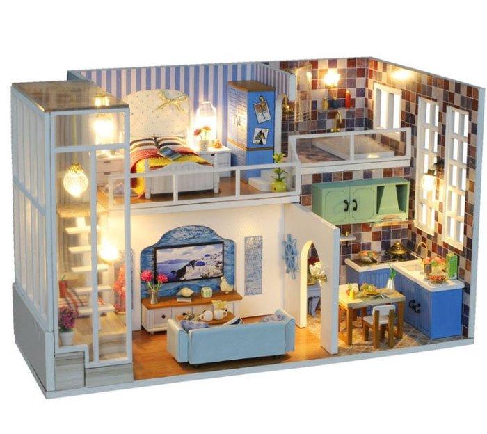 【批貨達人】米寓 手工拼裝 手作DIY小屋袖珍屋 帶防塵罩 迷你屋 創意小物生日禮物