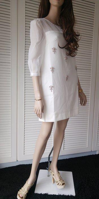 全新吊牌Liz Liza 白色薄紗拼接粉紅寶石綴飾A-Line 洋裝