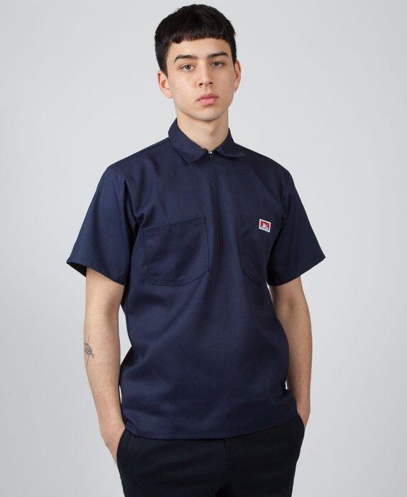BEN DAVIS - 海軍藍 經典素面 布標小LOGO短袖工作拉鍊襯衫-復古 工裝 VINTAGE DICKIES