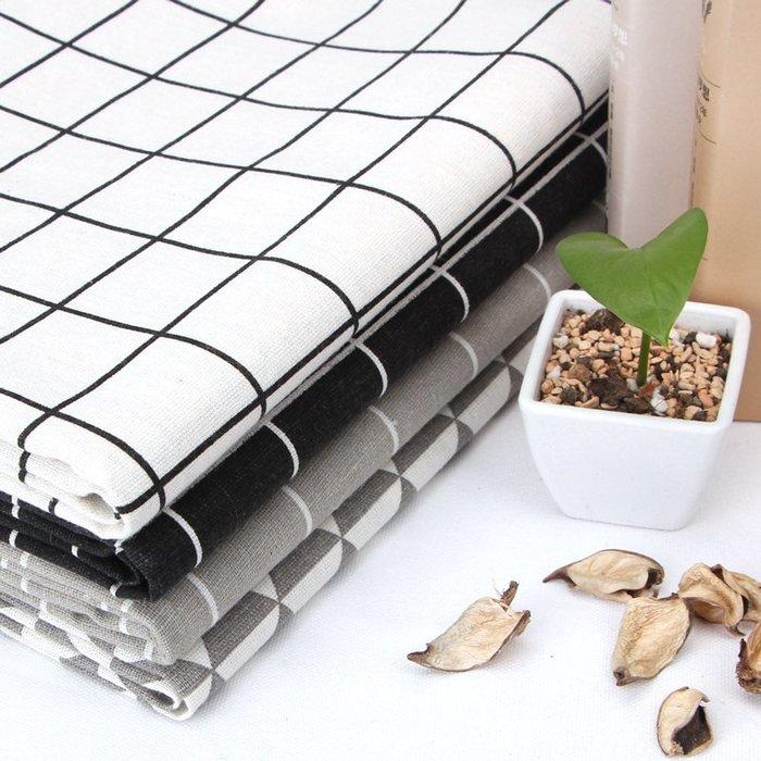爆款--棉麻布料 北歐窗簾沙發背景布ins風網紅桌布花布布頭黑白格子布料#布料#綢緞#冰絲#絨布