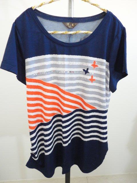 99元起標~棠葳Town wear~優雅貼鑽斜紋設計上衣~SIZE:2L