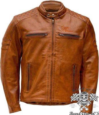 ♛大鬍子俱樂部♛ Rusty Stitches ® Jari 英國 復古 經典 哈雷 重機 牛皮 皮衣 防摔衣 棕色