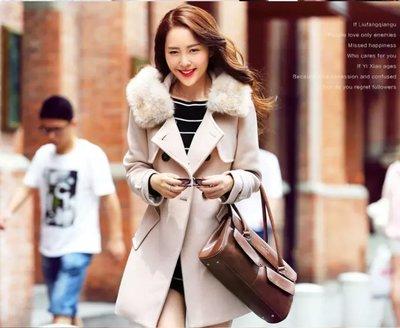 【時尚美女屋】毛呢外套韓版修身中長款雙排扣呢子大衣