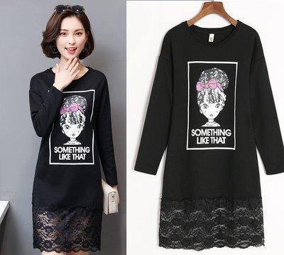 GOGO SHOP☆╭韓版新款 時尚字母印花顯瘦洋裝 蕾絲拼接連身裙【Y1640】XL~5XL大尺碼洋裝 中長款寬鬆T恤