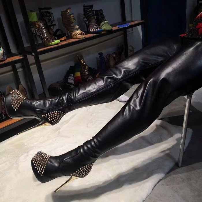 過膝長靴 大碼 歐美外貿大碼性感超高跟防水台鉚釘時尚過膝女長靴貨號310452400