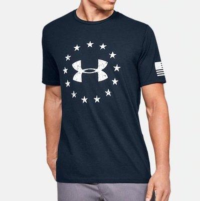 現貨 M UNDER ARMOUR UA 運動上衣 深藍色短袖T恤 自由概念LOGO短T 混棉質 寬版 美版 潮T