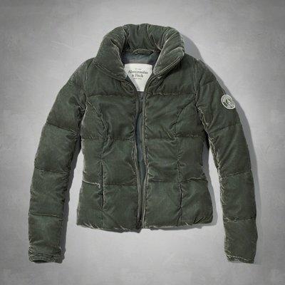 【天普小棧】A&F Abercrombie Tori Velvet Puffer Jacket絲絨鋪棉外套S號現貨抵臺