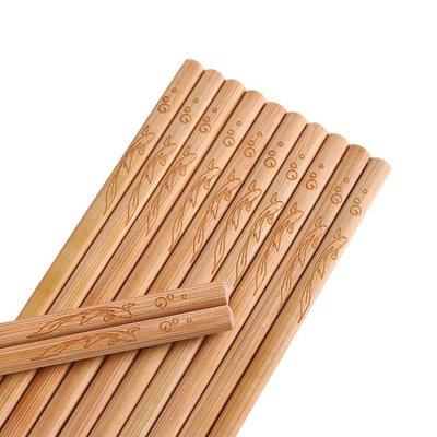 中式家庭裝竹筷家用實木防滑長筷子
