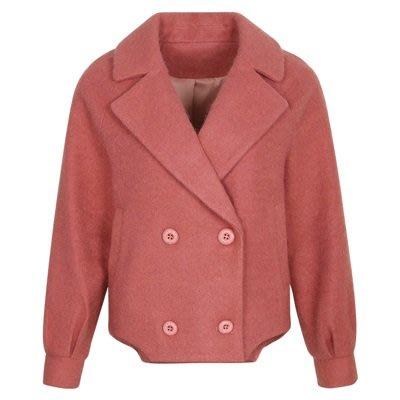 毛呢 外套 短版大衣-純色雙排扣氣質保暖女外套2色73ui10[獨家進口][米蘭精品]