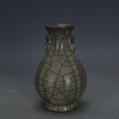 ㊣姥姥的寶藏㊣ 宋代哥窯鐵胎金絲鐵線雙耳玉壺春瓶  出土古瓷器古玩收藏擺件