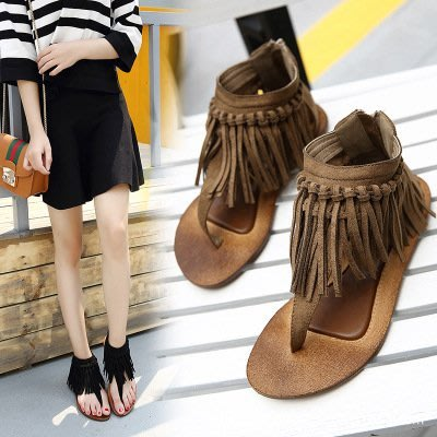 (預購35-40碼)新韓系平底鞋流蘇夾腳後拉鍊復古涼鞋時尚女鞋SH122-2