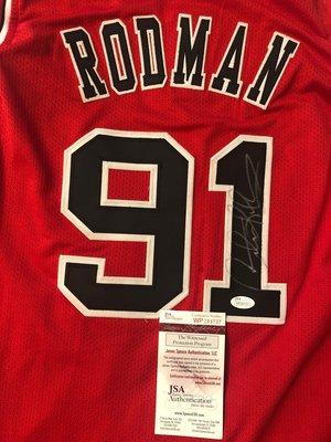 售回憶~芝加哥公牛Dennis Rodman 簽名球衣 (客製custom雙層電繡球衣、JSA見證認證)