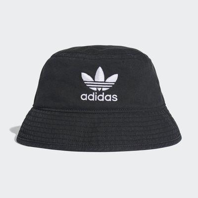 Adidas ADICOLOR 愛迪達仿舊休閒漁夫帽 戶外運動遮陽帽子 三葉草刺繡愛迪達黑色漁夫帽 dv0863