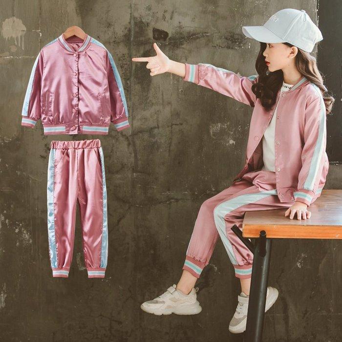 『媽咪貝貝』女童春裝套裝2019春季新款韓版中大童裝兒童休閑時髦洋氣兩件套潮