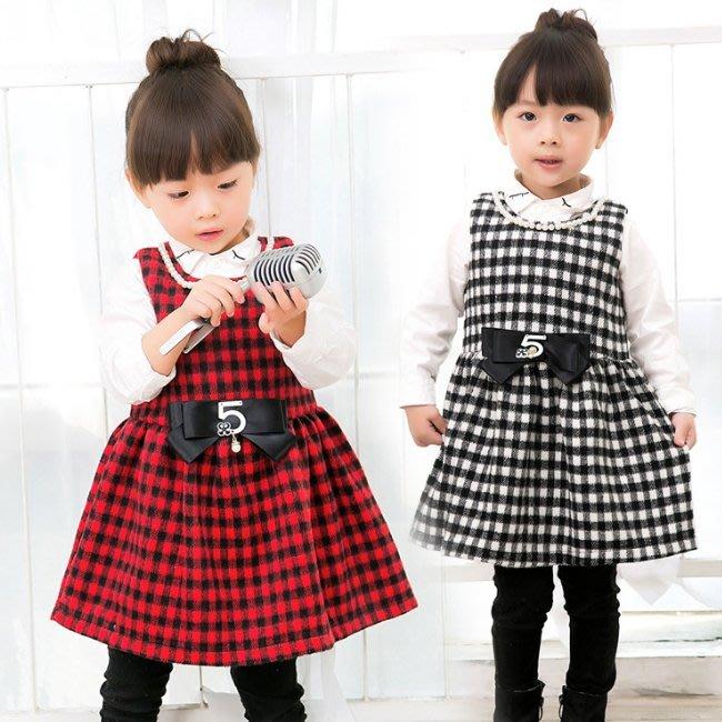 韓版《珍珠格子款》毛呢 背心洋裝 (J4-3)