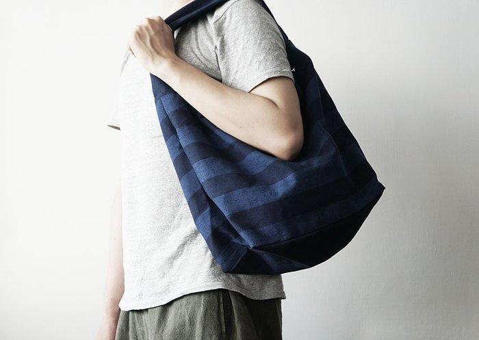 MH選物室 日本製 久留米絣 寬版 背帶 條紋 肩背 手提 包