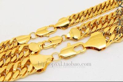 0.9cm寬60cm長, 鍍金嘻哈項鍊 Young Jeez Jay-z Cuban Chains