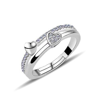 《現貨》國際S925純銀 心心相印開口戒指生日禮物 情人節禮物 Baonizi 寶妮子 K6109