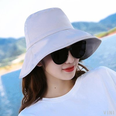 VINI 涼帽女夏遮陽帽可折疊戶外防曬韓國遮臉百搭潮流文藝薄chic漁夫帽
