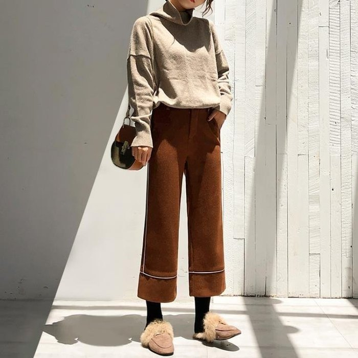 YEAHSHOP 大碼毛呢寬褲女 季新款韓版寬鬆Y185