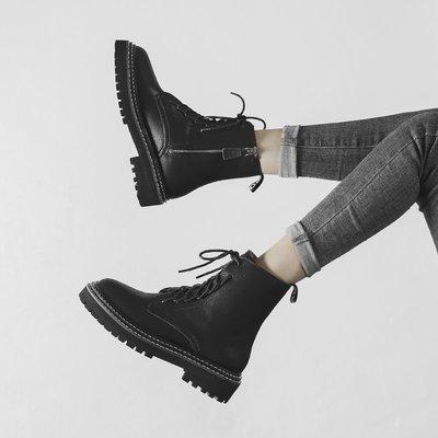 [日韓店購購]馬丁靴女英倫風2019秋冬新款百搭松糕機車靴大冪冪同款短靴女粗跟