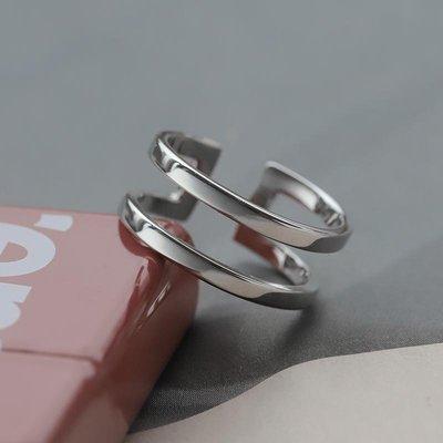 銀戒指男潮輕奢簡約個性男士單身戒ins潮流小眾港風開口食指指環